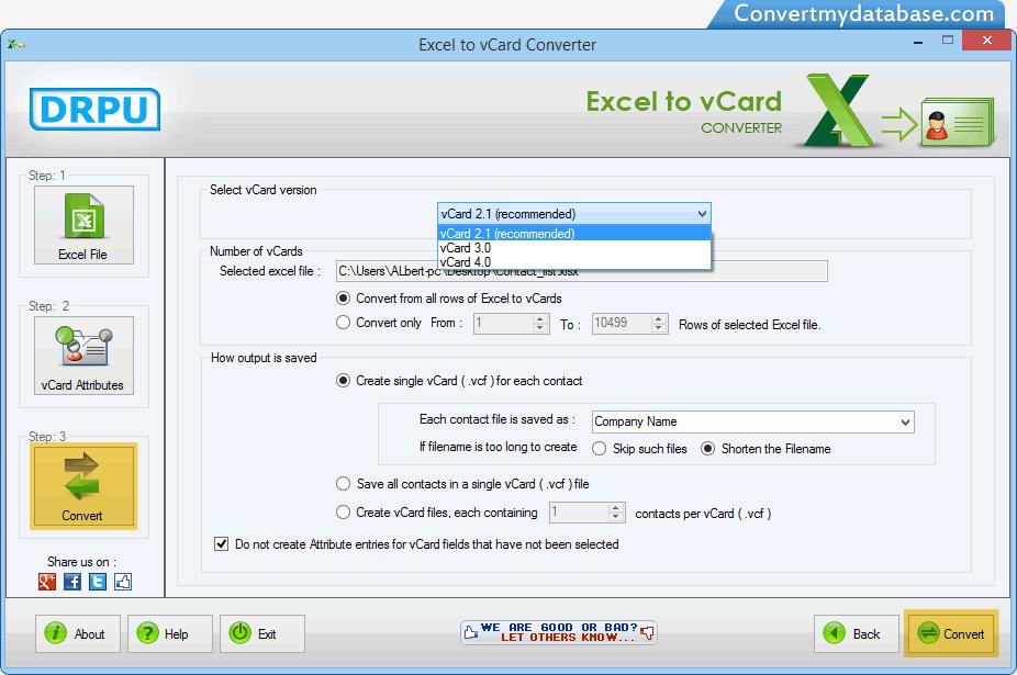 Excel to vCard converter software screenshots convert excel